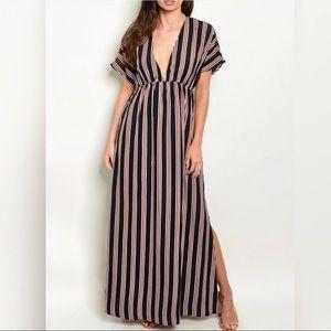 ✨NEW✨ Black Stripes V-Neck Maxi Dress